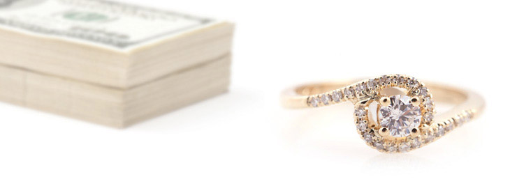 Yellow Gold Swirl Halo Diamond Ring