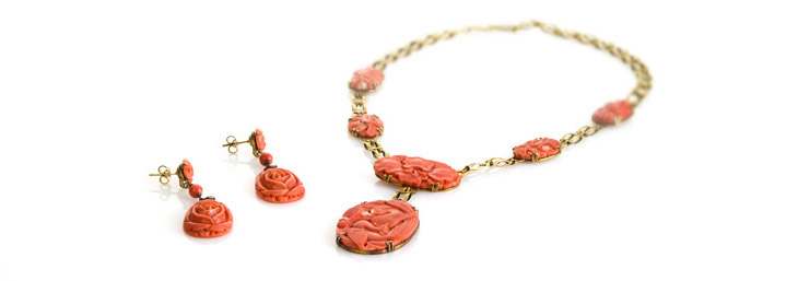Red Coral Rose Earring and Necklace Set