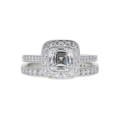 GIA 1.15 CT Cushion Cut Halo Bridal Set