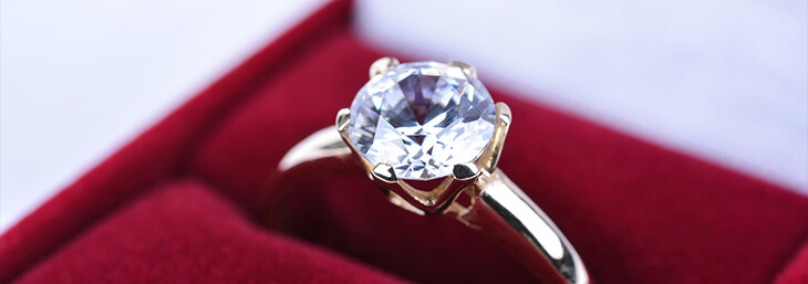Round Cut Diamond Ring in Red Box