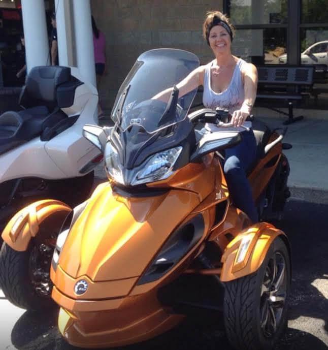 Carmen's Spyder 3 wheel motorcycle